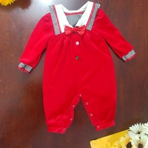 Vintage Christmas Holiday Romper Pant Suit
